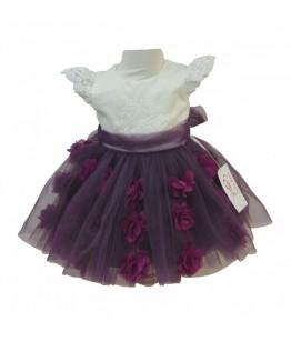 Rochita pentru fetite, Michelle Purple, tulle/ tafta, 0-12 luni, 56-6-80 cm