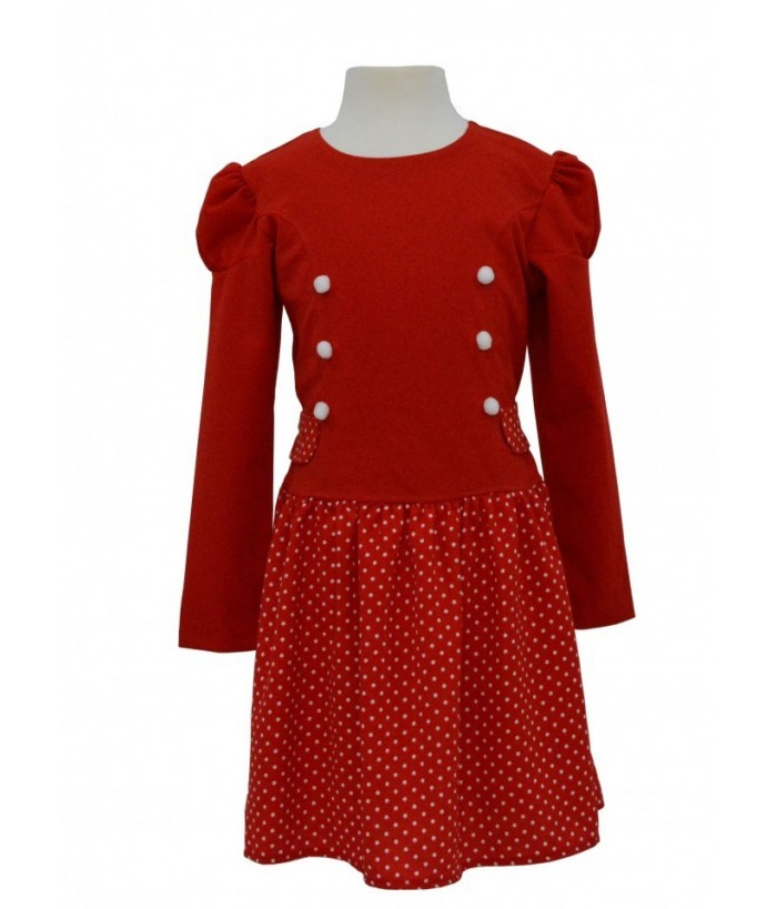 Rochita pentru fetite Elizabeth, rosu, bumbac, 3-8 ani, 98-128 cm