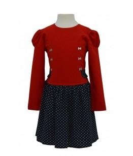 Rochita pentru fetite Christine, rosu-bleumarin, 3-8 ani, 98-128 cm