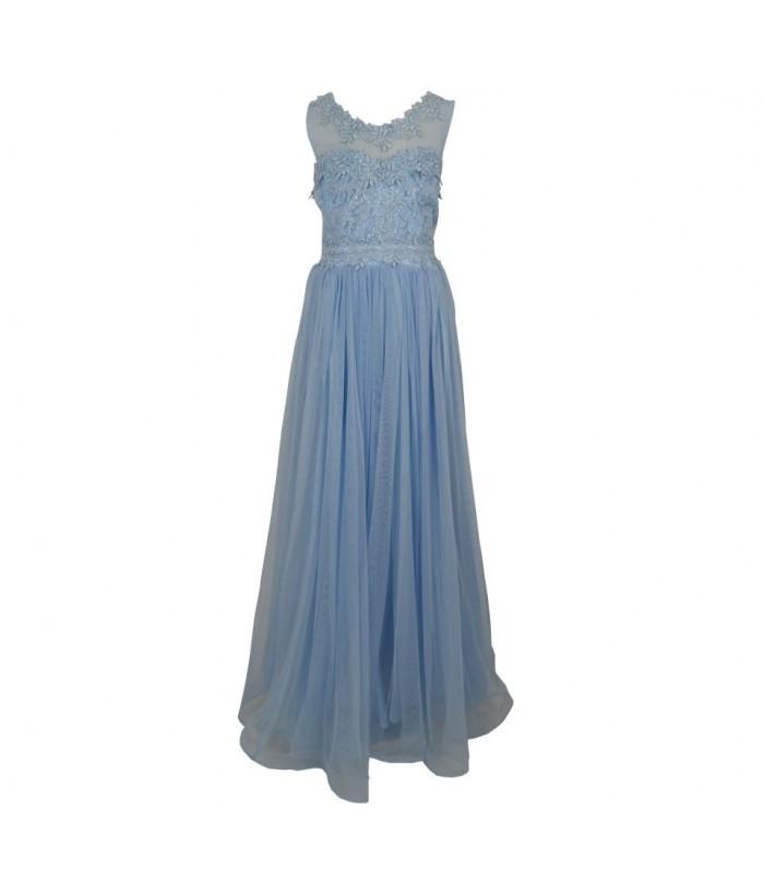 Rochita pentru fetite, Annabel Blue, tulle, lunga, 6-14 ani, 116-164 cm