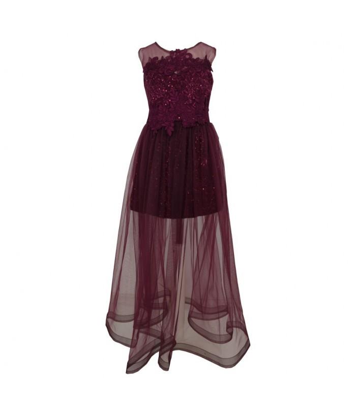 Rochita pentru fetite, Alice Purple, tulle, lunga, 6-14 ani, 116-164 cm