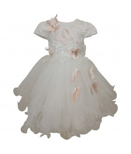Rochita pentru fetite, Evelyne White, aplicatii decorative, 2-6 ani, 92-116 cm