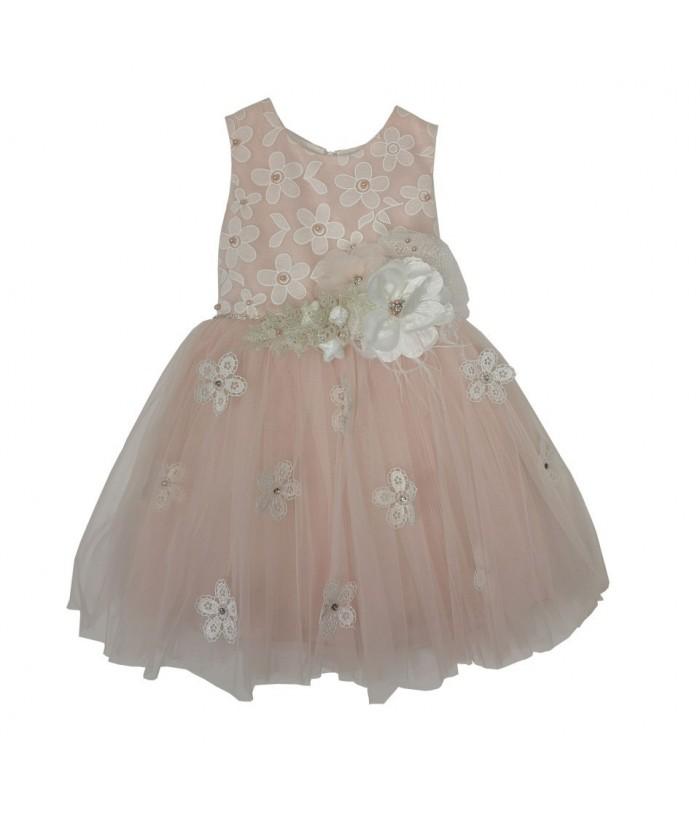 Rochita pentru fetite, Sophia, roz, tulle, 2-6 ani, 92-116 cm