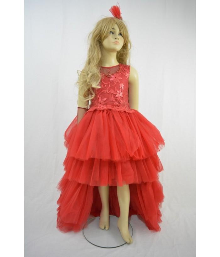 Rochita pentru fete Anastasia Red, 8-11 ani, tulle/ broderie, 128-146 cm