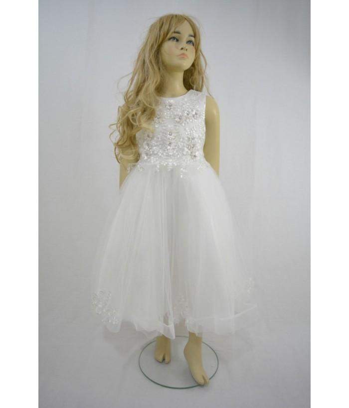 Rochia pentru fetite, Amira White, 8-11 ani, 128-146 cm