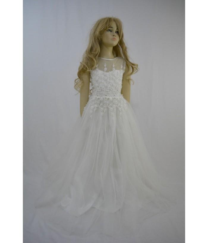 Rochia  pentru fete, Julia White, 10 ani, 140 cm, tulle