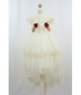 Rochia cu trena pentru fete Mirabela Ivory, tulle, 4-8 ani, 104-128 cm