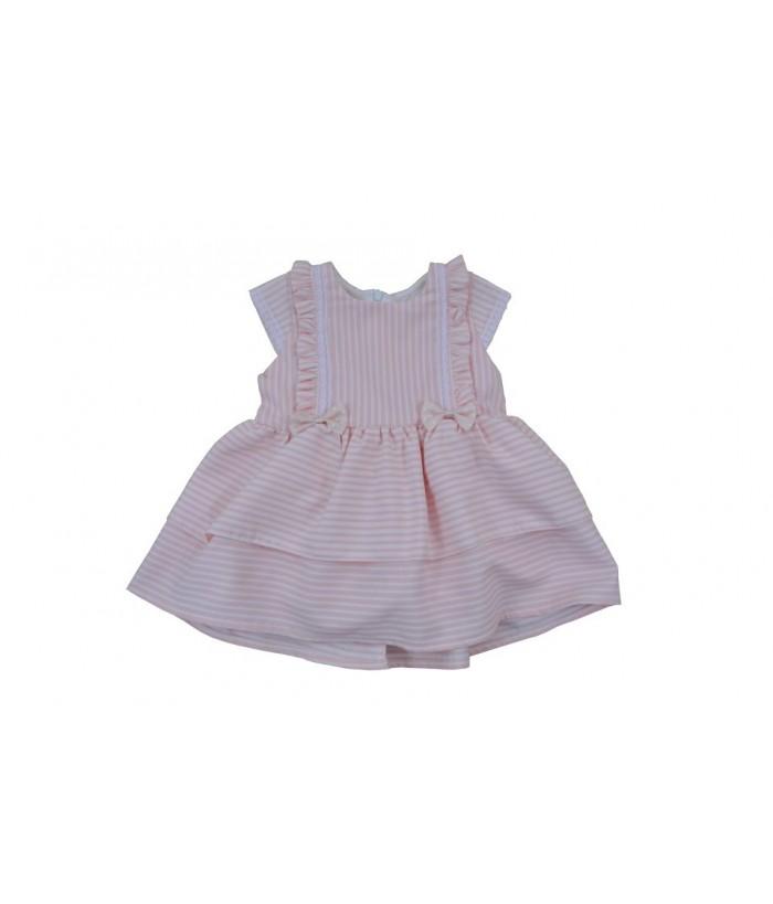 Rochia pentru fetite, Christa, roz cu dungi albe, 3-4 ani, 98-104 cm