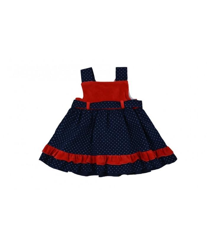 Rochie de catifea pentru fetite, Eliza, 2-7 ani, bleumarin/rosu