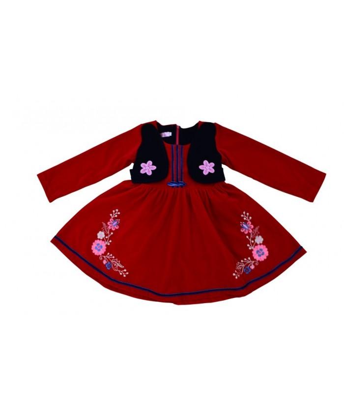 Rochita de stofa rosie, Flavia, 5 ani, 110 cm