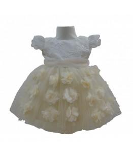 Rochita de fetita Floriss Cream, Colibri, 0-12 luni, tulle cu aplicatii flori cusute manual