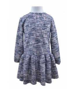 Rochia pentru fetite cu maneca lunga, gri, Ela, 7-12 ani, 122-152 cm