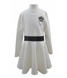 Rochia alba cu maneca lunga, pentru fetite, Dora, 10 ani, 140 cm
