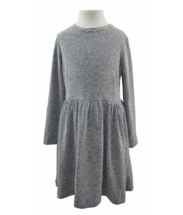 Rochia pentru fete cu maneca lunga, Emma, gri, 8-12 ani, 128-152 cm