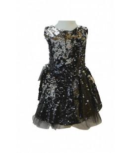 Rochita pentru fetite, Disco Black, strasuri reversibile, 2-6 ani, 92-116 cm