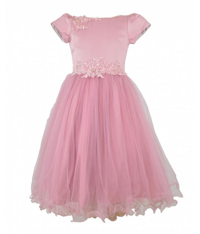 Rochia eleganta de fetita, tulle roz, Brigida, 4-14 ani, 104-164 cm