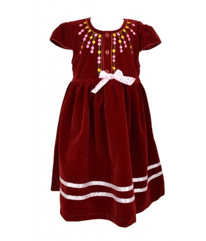 Rochia pentru fetite, Adonia, din catifea rosie, 3-5 ani, 98-110 cm