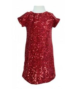Rochie rosie pentru fetita, Emilia, paiete, 2-5 ani, 92-110 cm