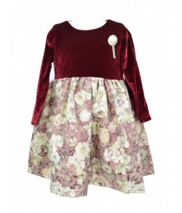 Rochie pentru fetita, catifea grena, Eda, 1-3 ani, 80-98 cm