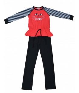 Pijama fete, 2 piese, 6-9 ani, 116-134 cm, JuliaKids, 5285