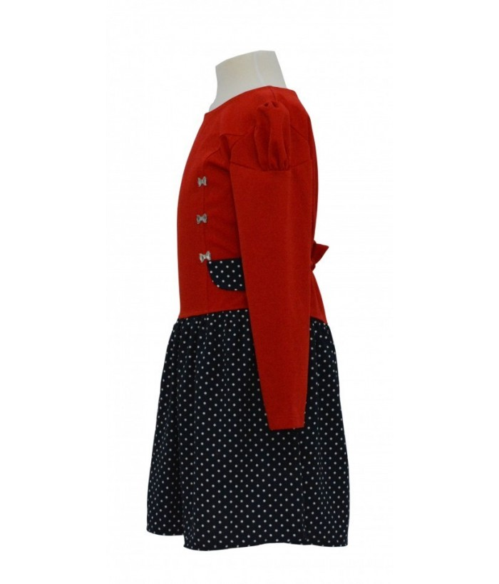 Rochie pentru fete, Christine, roșu-negru, bumbac, 3-8 ani, 98-128 cm