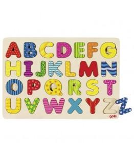 Puzzle Alfabet A-Z, GoKi, lemn, multicolor, 30 x 21 cm