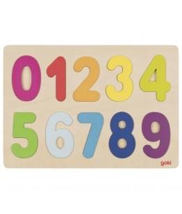 Puzzle numere 0-9, GoKi, lemn, multicolor, 30 x 21 cm