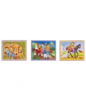 Set Mini Puzzle Peggy Diggledey, lemn, multicolor