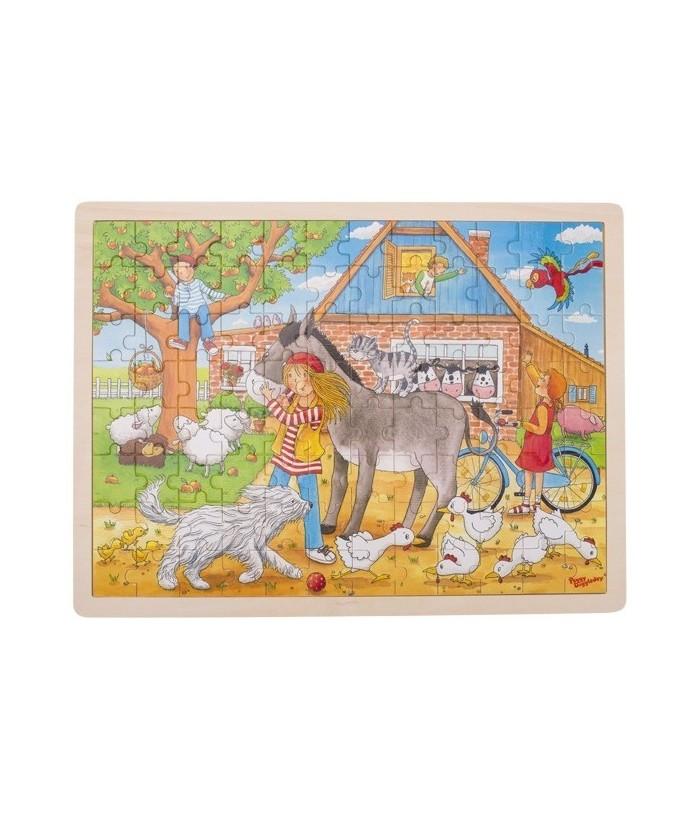 Puzzle Peggy la ferma, Peggy Diggledey, lemn, multicolor, 40 x 30 cm