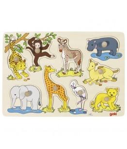 Puzzle pui animale Africa, GoKi, lemn, multicolor, 30 x 21 x 2.4 cm