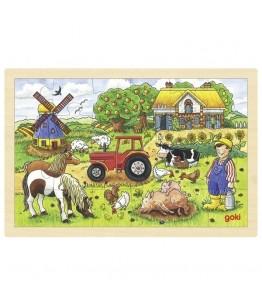Puzzle Ferma lui Millers, GoKi, lemn, multicolor, 30 x 20 cm