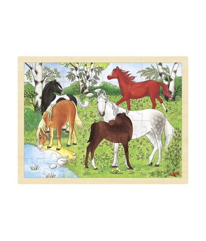Puzzle Ponei, GoKi, lemn, multicolor, 40 x 30 cm