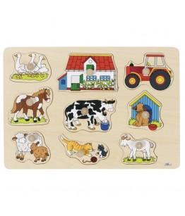Puzzle Ferma I, GoKi, lemn, multicolor, 30 x 21 x 2.4 cm