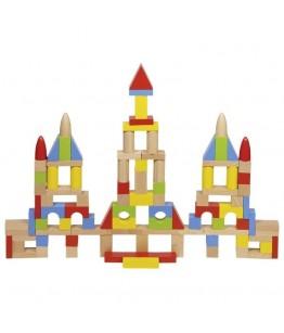 Cuburi pentru constructii GoKi, lemn, multicolor, diametru 5 cm