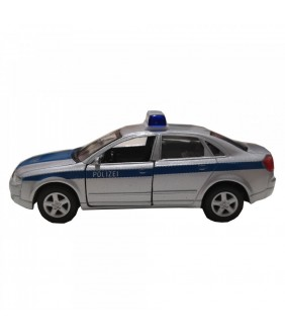 Masinuta de politie Audi A4, GoKi, gri/albastru, die-cast, 12 cm