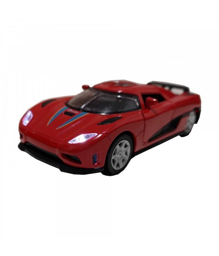 Roadster Momentum, GoKi, rosu, lumini si sunet, die-cast, 14 cm