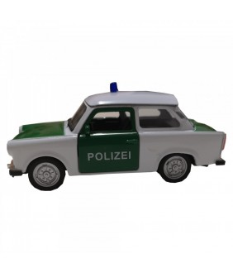 Masinuta de politie Trabant 601, GoKi, alb/verde, die-cast, 11 cm