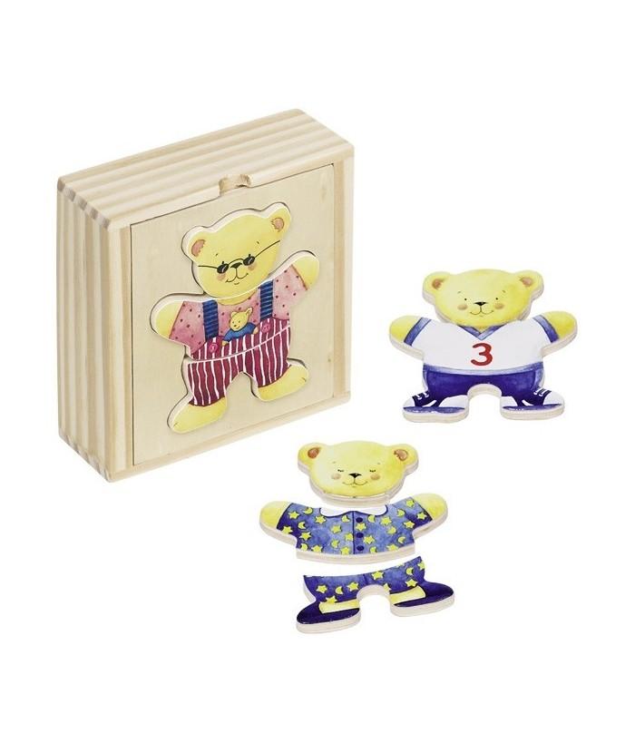 Puzzle Imbraca ursuletul, GoKi, lemn, multicolor, 9.5 x 10 x 3.6 cm
