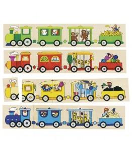 Puzzle memo locomotive, GoKi, lemn, 5 x 7.7 cm