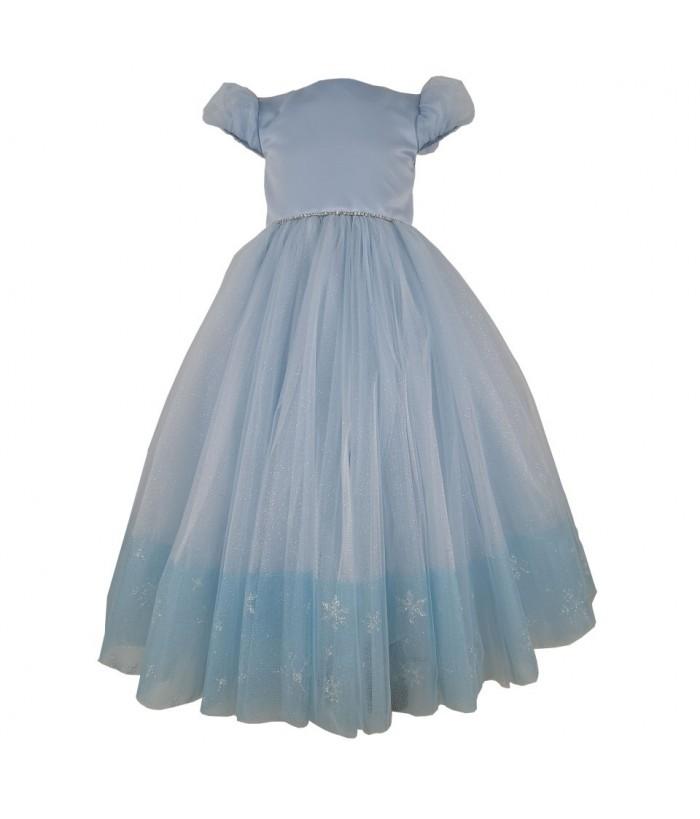 Rochia lunga pentru fetite, Cinderella, bleu deschis, 3 ani, tulle, 98 cm