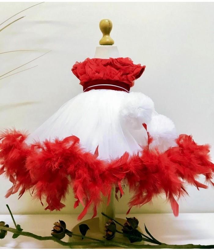 Rochia eleganta pentru fetite, cu fulgi Craciunita, 3-12 ani, 98-152 cm