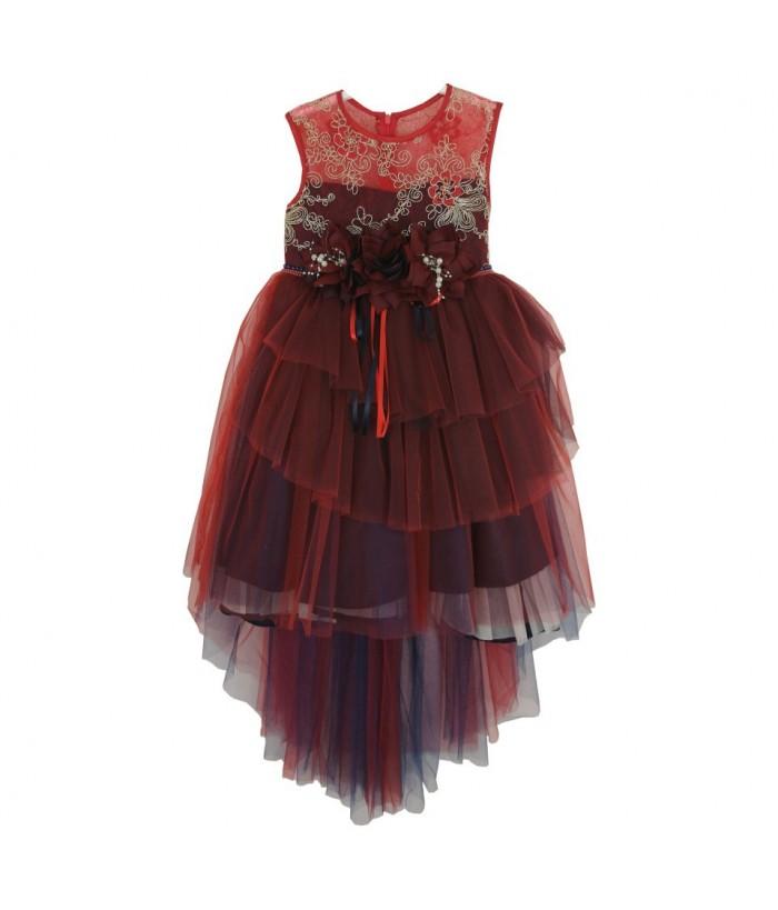 Rochie cu trena rosu/bleumarin pentru fetite, 6 ani, 116 cm