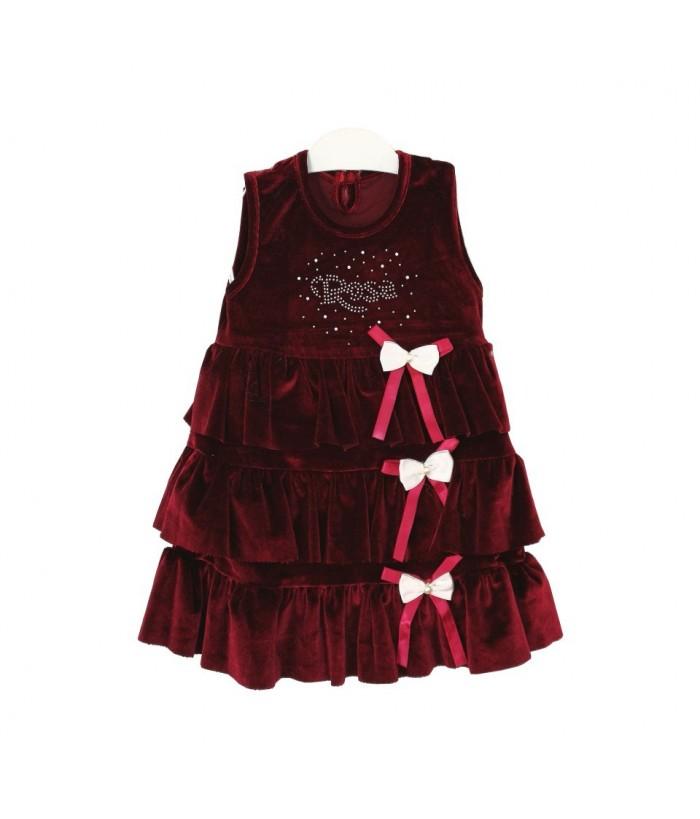 Rochie de catifea grena  pentru fetita, 2 - 3ani, 92-98 cm