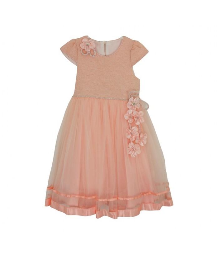 Rochia Kate  pentru fetite, tulle somon, 4-8 ani, 104-128 cm