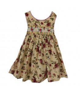 Rochita de zi pentru fetita, Christine, stofa crem cu imprimeuri florale, 2-3 ani, 92-98 cm