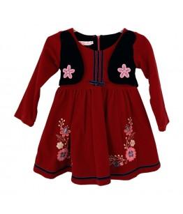 Rochita de zi pentru fetite, Nicoline, cu maneca lunga, stofa rosie, 4 ani, 104 cm