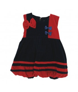 Rochita de fetita, Kalia, stofa bleumarin/rosu, 3 ani, 98 cm