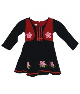 Rochia de zi Ingrid, fetite, stofa bleumarin, maneca lunga, 1-6 ani