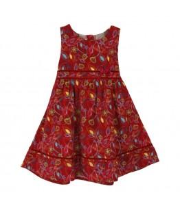 Rochita de zi pentru fetite, Ambra, stofa rosie cu imprimeuri florale, 3 ani
