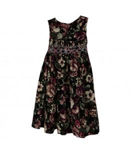 Rochita de zi pentru fetite, stofa mov, imprimeuri florale, Eileen, 3 ani, 98 cm